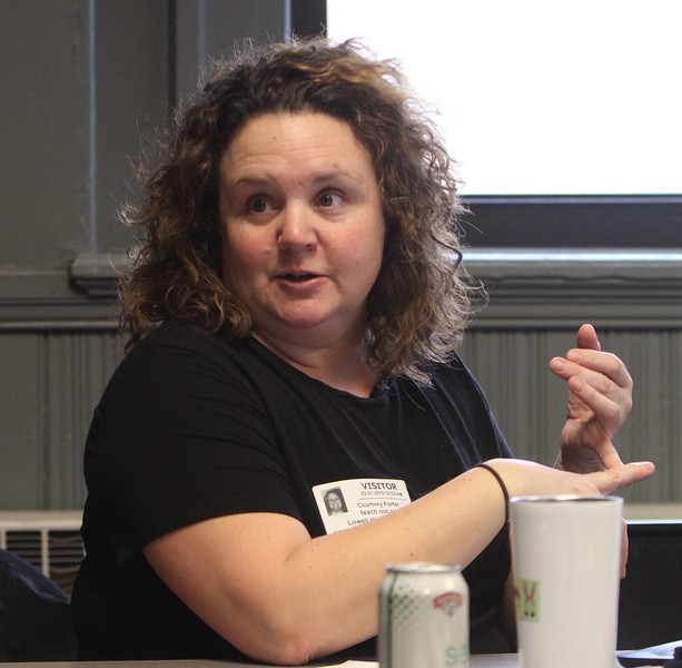 "Courtney Porter, Claremont, N.H., school social worker, and McKinney-Vento homeless liaison, speaks at ""Leaders for Increasing Voice in Education"" meeting hosted by the Great Schools Partnership and the Nellie Mae Education Foundation.  (SUN/Julia Malakie)"