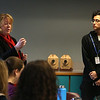 "Members of Lowell High's Student Voice group, including senior Neyder Fernandez, right, with Lowell High head of school Marianne Busteed, are featured at ""Leaders for Increasing Voice in Education"" meeting hosted by the Great Schools Partnership and the Nellie Mae Education Foundation.  (SUN/Julia Malakie)"