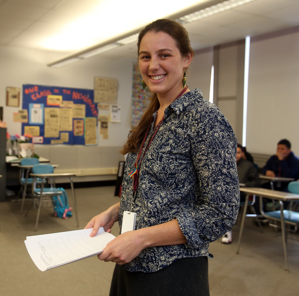 Lowell High history teacher Jessica Lander, in her advisory class (homeroom). State has new requirement for civics education. Lowell High has been doing Generation Citizen, which Lander teaches. (SUN/Julia Malakie)