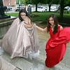 Aaliyah DaSilva, left, and Amy Syri arrive at Lowell High prom. (SUN/Julia Malakie)