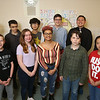 Lowell 'all-star' Knowledge Bowl team that will competer in regional Knowledge Bowl. From left, front: Jackson Little, Gabby Douglas, Nina Wolf, Alden Raisbeck and Jackie Tran. Rear: Enrique Raudales, Key Mahayan (sp?), Yutt Kho, Douglas Forsythe, manager Curtis Chanthaboun and Isaac Maniscalco. [Note includes manager, & someone else may be absent] (SUN/Julia Malakie)