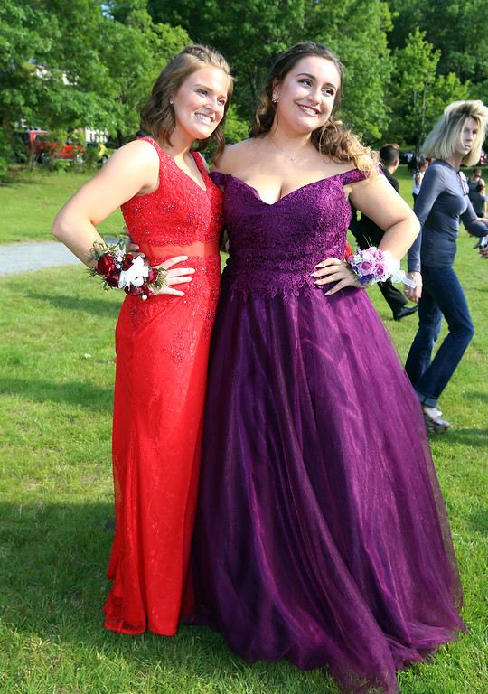 . Lowell High pre-prom gathering at Fort Hill Park. Paige Carey, left, and Jaymison Griesmer. (SUN/Julia Malakie)