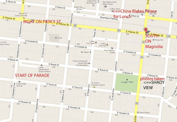 Luling central map and parade route. 6/23/12