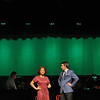 Students at Leominster High School rehearse for the musical Chicago on Thursday afternoon at the school. Deanna Martinez playing Roxie Hart acts a scene with Michael LaFerriere playing Billy Flynn during the dress reheasal. SENTINEL & ENTERPRISE/ JOHN LOVE