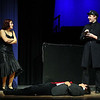 Students at Leominster High School rehearse for the musical Chicago on Thursday afternoon at the school. Deanna Martinez playing Roxie Hart talks with Michael Audet who was playing Sergeant Fogarty as Kyle Davi who was playing Fred Casely who was acting dead after Deanna shoot him during the dress rehearsal. SENTINEL & ENTERPRISE/ JOHN LOVE