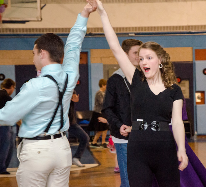 Becca Paquette channels her inner Sandy with Keifer Martines during the Goodbye Lunenburg High Sock Hop on Saturday afternoon. The event marked the last dance that will be held in the building before it is torn down and paid homage to the year the school was built, 1957. SENTINEL & ENTERPRISE / Ashley Green