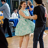 Abigail Dwyer and Maxwell Bollows dance along to the throwback music during the Goodbye Lunenburg High Sock Hop on Saturday afternoon. The event marked the last dance that will be held in the building before it is torn down and paid homage to the year the school was built, 1957. SENTINEL & ENTERPRISE / Ashley Green