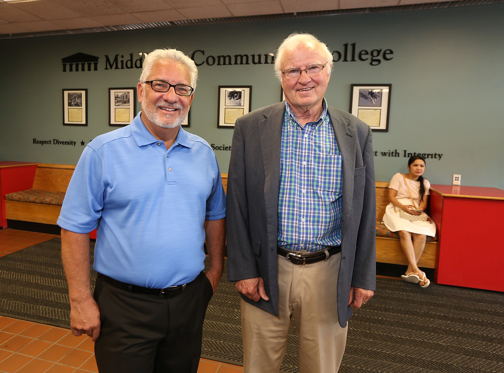 . Middlesex Community College, rated best community college in Massachusetts by bestcolleges.com. Provost & VP of Sudent & Academic Affairs Phil Sisson, left, and chairman of MCC Board of Trustees James Campbell. (SUN/Julia Malakie)