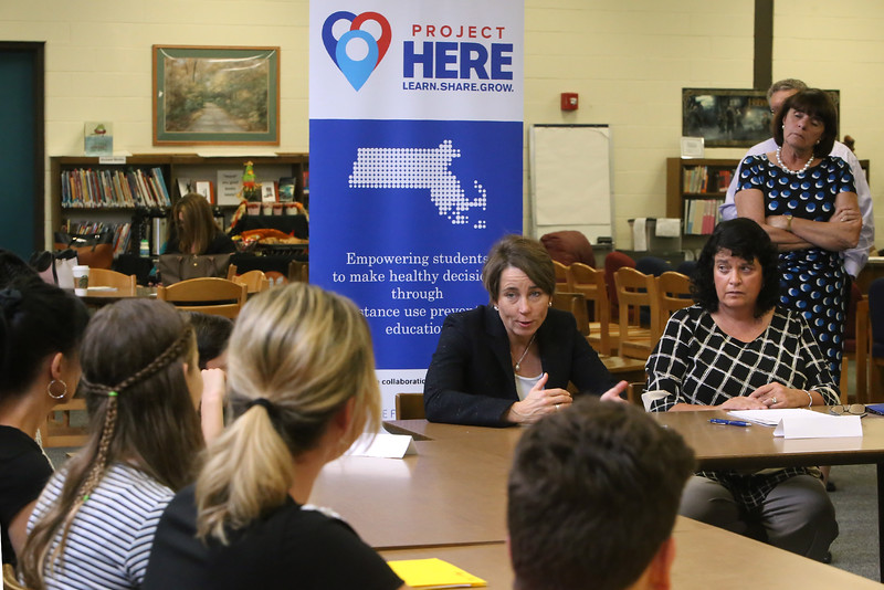 Massachusetts attorney general Maura Healey visits Marshall Middle School in Billerica for round table discussions with middle school students, health teachers, and town officials, about opioids. From left rear, Maura Healey, health teacher Josie McCafferty, and Middlesex DA Marian Ryan. (SUN/Julia Malakie)