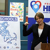 Massachusetts attorney general Maura Healey visits Marshall Middle School in Billerica for round table discussions with middle school students, health teachers, and town officials, about opioids. (SUN/Julia Malakie)