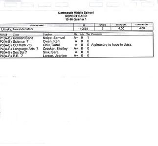 2014-2015 Grade 7 Dartmouth