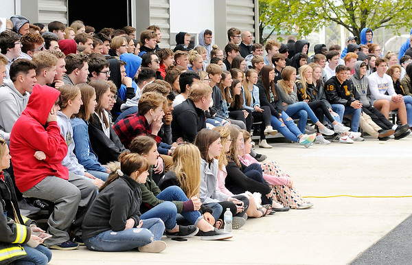 Don Knight   The Herald Bulletin<br /> Mock accident at Lapel High School on Friday.
