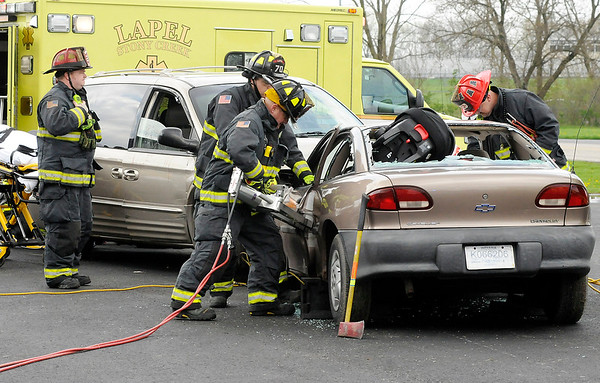 Don Knight | The Herald Bulletin<br /> Mock accident at Lapel High School on Friday.
