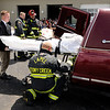 Don Knight | The Herald Bulletin<br /> Anna Willis, playing the part of a fatality in a mock accident, is loaded into a hearse at Lapel High School on Friday. Students observed first responders work the mock accident as a reminder of the consequences of bad decisions.