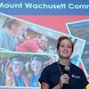 """Guest speaker Kayla Lundgren, a student at Mount Wachusett Community College, addresses seniors at Montachusett Regional Vocational Technical High School during the """"Go Higher"""" program at the school on Thursday morning. SENTINEL & ENTERPISE/JOHN LOVE"""