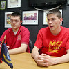 Connor Quick and Jack Marabello, two Monty Tech students who placed second and ninth, respectively, in the governor's Cyber Aces competition chat about the competition on Monday at the school.SENTINEL & ENTERPRISE/JOHN LOVE