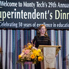 Superintendent Dr. Sheila Harrity speaks to the crowd at the 29th annual Superintendent's Dinner also celebrating Monty Tech's 50th anniversary on Wednesday evening. SENTINEL & ENTERPRISE / Ashley Green