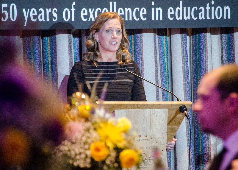 Superintendent Dr. Sheila Harrity speaks to the crowd at the 29th annual Superintendent's Dinner also celebrating Monty Tech's 50th anniversary on April 13. SENTINEL & ENTERPRISE / Ashley Green