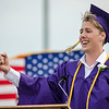 Jared Moore sings the National Anthem at the start of the 45th commencement ceremony held at Monty Tech on Wednesday evening. SENTINEL & ENTERPRISE / Ashley Green