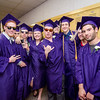 Soon-to-be graduates huddle up for a photo while waiting for the start of Monty Tech 45th commencement ceremony on Wednesday evening. SENTINEL & ENTERPRISE / Ashley Green