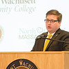 State Representative Jon Zlotnik speaks during the Chamber of Commerce breakfast honoring outgoing MWCC President Daniel Asquino on Friday morning at the school. SENTINEL & ENTERPRISE / Ashley Green