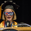 Class speaker Chelsea Garrity performs a rap as part of her address the 51st commencement ceremony at Mount Wachusett Community College on Wednesday evening. SENTINEL & ENTERPRISE / Ashley Green