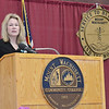 Cindy Andrews, Director of Nursing and Assistant Vice President of Seven Hills Pediatric Center speaks to the graduates at the Mount Wachusett Community College nurses pinning ceremony held on Thursday evening. SENTINEL & ENTERPRISE / Ashley Green