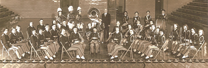 1951 Concert Band - Gerald Ludtke, director Second row of clarinets: Marge & Don Voas #2&3, Ray Clouse #4; Dwaine - in center with Oboe; Last saxiphone in 2nd row - Mavis Vollenweider; Phyllis Vollenweider right behind her with horn