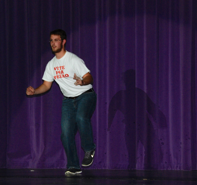 Doing Napoleon Dynamite's dance.