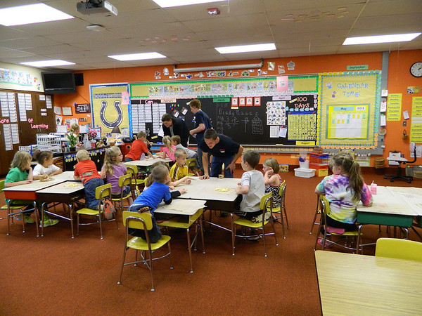 NDHS FFA members do an agriculture presentation for Mrs. Acra's kindergarten class.