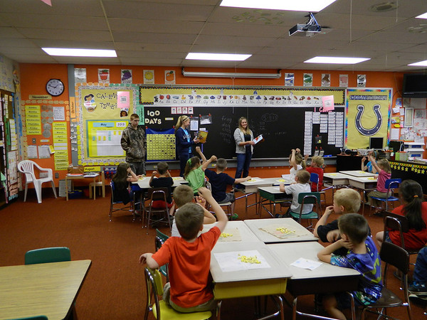 NDHS FFA members do an agriculture presentation for Mrs. Hadler's kindergarten class.
