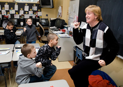 "NHPS students ""Take 10"" in Sue Kelley's first- grade class at Nathan Hale."