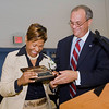 Beecher principal Kathy Russell Beck recieves te Key-to-the-School from Mayor DeStefano during the official Dedication Ceremony for the new Beecher School in September.