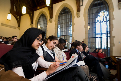 NHPS students Kannez Anwar, Lynette Perez and Dannieka Wiggins take part in the Model UN program at yale this january.