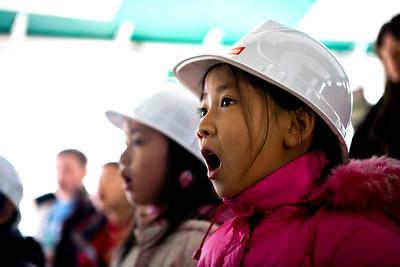 Hooker elementary school student Michelle Yuan and her classmates  perform during the groundbreaking ceremony for the new Hooker school 1/17/08.