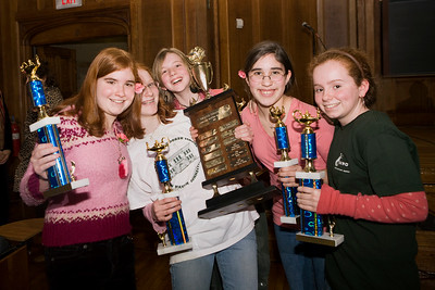 """The Worthington Hooker """"Pointy-Headed, Pretty Pink Princesses of Print"""" win the Middle School Book Bowl Final in January.  they are L-R:  Rachel Smith, Esther Rose-Wilen, Tarpley Hitt, Maya Levine-Ritterman and Sophie Dillon"""