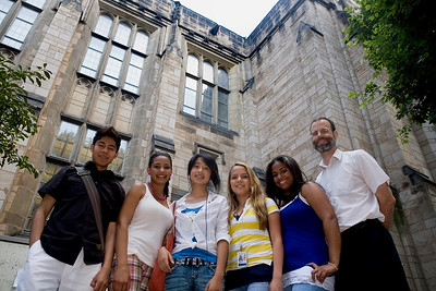 Cross students:  Angel Diaz, Eileen Almonte, Xing Xin Liu, Betsabeth Treyes and Denise Vasquez recieved sholarships to study ESL at Yale during a special summer program.  NHPS teacher Alan Gibbons is a teacher in the program.