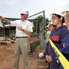 Beecher Construction #4:  Tony DiNapoli of Concord Glass speaks to Albero Matias, Peter Jace and other students during a visit to the Beecher school construction site.