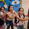 Second and third graders congo their way to their new classrooms during the Jepson grand opening in September.  picture number seven from left to right is <br /> Christan Gonzalez (the boy in red) Syan Washington, Talajah Crnkovic, Angelica Rodriguez, and Laura Bedoya. The girls are all in third grade and the young man is in second grade. They are all in my classroom