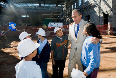 The Mayor chats with students from Colombus School during the  the Topping Off ceremony for the new Colombus School Wednesday, September 19th.