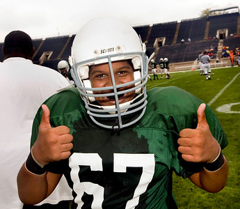Joel Ubri of Celentano was having a great time during the Middle School game September 22 at the Yale Bowl.