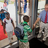 Troup principal  Richard Kaliszewski  greets students as they enter their new school on the first day 2008.