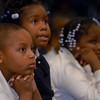 "L to R: Jabari Sharif, Jamya Perkins, and Trayonna Lane, Listen to ""Just in Case"" at Davis Street School.  They are in 2nd grade.    Melanie Stengel/Register"