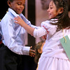 Angel Garcia (L) and Astrid Fierro complete a dance at at Fair Haven School. They are in bi-lingual pre-K.