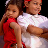 Anna Ramos (L) and Jodier Jimenez, in bi-lingual 2nd grade, at the completion of a dance medley at Fair Haven School.