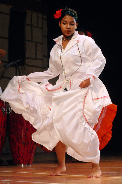 Denisha Cirino,m an 8th grader, performs a dance number at Fair Haven School