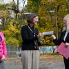 Susan Frankenbach of the Yale Cancer Center receives a check from Hill Central teacher Megan O'Neill, and Assistant Principal Lillian Oquendo.  Students from Hill Central raised over $100 for cancer research by paying a quarter to wear pink to school.
