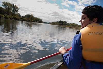 Barnard sixth graderDaniel Rodriguez canoes on the West River.