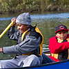Barnard sixth graders Mikahl Glass and Xavier Segarra canoe on the West River.