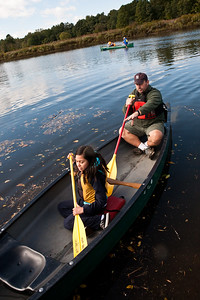 Harry Coyle of the NH Parks Dept takes Barnard's Asucena Aviles out on the West River.